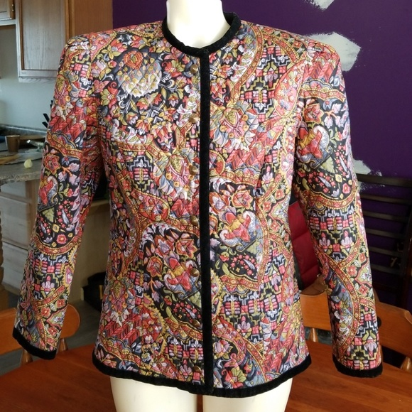 c527f6f038c90 Donna Morgan Jackets & Coats | Quilted Multicolored Jacket | Poshmark